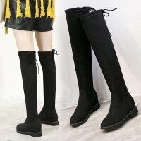 真皮牛反绒过膝长靴秋冬新款平底低跟女靴 黑色