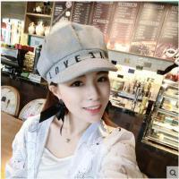 帽子 贝雷帽 八角帽 韩版LOVE字母女兔毛球毛呢八角帽鸭舌帽报童帽画家蓓蕾帽