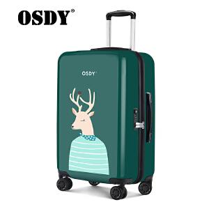 osdy个性文艺印花箱萌系亲子情侣拉杆箱24寸行李箱O-Y3
