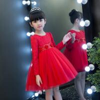 女童装连衣裙秋女宝宝公主裙加绒裙子儿童红色新年礼服裙