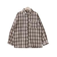 自制2018秋装新款女装韩版港味格子POLO领长袖衬衫上衣外套 均码