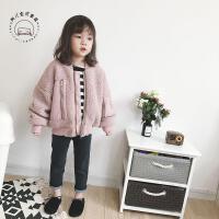 韩版童装17秋新款女童羊羔绒外套儿童潮款宽松拉链保暖棉衣外套 粉红色
