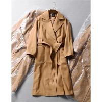 瑞典单欧美风显瘦腰带收腰气质西装领长毛呢大衣外套秋冬女装1.55