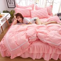 床罩四件套床裙式夹棉全棉1.5m1.8米200床单被套简约纯棉床套床群 1.2x2.0米床 【被套150x200】