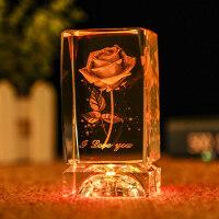 水晶工艺品摆件小礼物水晶球3D玫瑰花摆件发光生日礼物女生定制创意刻字情人节送女友
