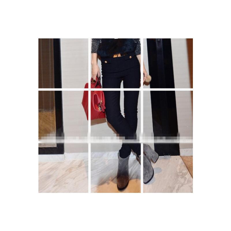 0323203759640欧洲站秋冬季新款裤子韩版百搭口袋高腰休闲修身显瘦打底小脚裤女 一般在付款后3-90天左右发货,具体发货时间请以与客服协商的时间为准