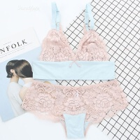 Bralette粉蓝性感蕾丝美背少女杯文胸套装软杯无钢圈显小内衣 粉蓝色