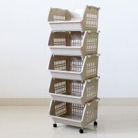 菜篮子厨房收纳筐家用装菜筐子塑料置物架放水果储物框大号收纳篮 大号 棕色 五层