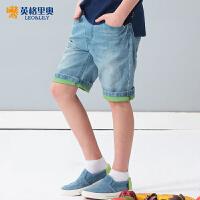 英格里奥童装男童牛仔裤子男童休闲牛仔短裤子LLB781