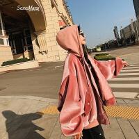 2018春装新款韩版金丝绒棒球服宽松bf风短款廓形连帽粉色外套女潮 粉红色