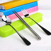 普润不锈钢便携餐具学生旅行筷子勺子套装餐具盒三件套便携餐具 一套装