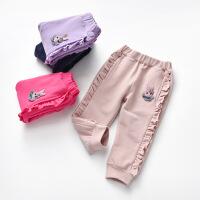 【3件2折价:58元】斯提妮女童裤子外穿2021春季新款可爱女宝宝木耳边洋气休闲裤潮流长裤