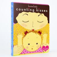 Counting Kisses亲爱的宝宝绘本:数数有多少吻 凯伦・卡茨 纸板书英文原版 大师绘本耐撕 低幼童书 吻是可数的,爱是不可数的