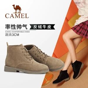 Camel/骆驼2018冬季新款 粗跟简约舒适街头摩登舒适低跟短筒女靴