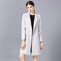 �莱2018毛呢大衣女中长款秋冬长袖毛呢大衣外套