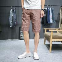 男士中裤5分裤夏季棉麻裤五分裤格子修身亚麻休闲短裤男