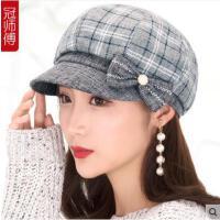女秋冬帽子韩版贝雷帽时尚百搭优雅时装帽户外休闲八角帽