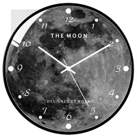 骁熊 北欧后现代创意时钟时尚艺术复古个性ins月球黑白灰静音挂钟 简约黑 黑框