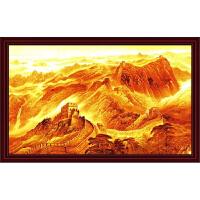 万里长城墙画商用金色横幅办公室庭客厅沙发背景装饰画山水画 120x75厘米