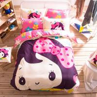 纯棉卡通床上用品四件套床笠棉儿童床单人被套三4件套