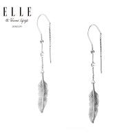 ELLE耳环 S925银红宝石镀铑饰品 舞动的羽翼系列 礼物送女友