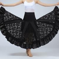 国标舞摩登舞长裙交谊舞蕾丝大摆裙 时尚新款华尔兹半身裙成人