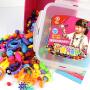 百变波普珠珠串珠玩具儿童手工DIY宝宝益智拼插女孩手链穿珠子500粒卡扣+收纳