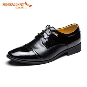 红蜻蜓时尚拼接亮皮系带绅士正装商务皮鞋