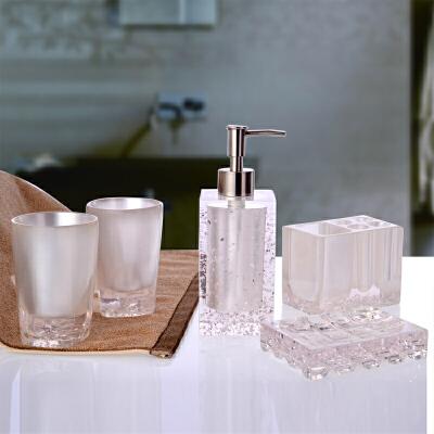 卫浴套装五件套树脂欧式大号洗漱用品新婚礼品 漱口杯 冰花 白色 大冰花 五件套 春季新品