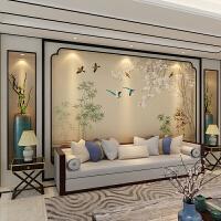 新中式花鸟沙发影视墙无缝墙布定制电视背景墙墙纸壁画壁纸无纺布