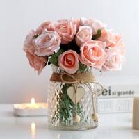 夜灯欧仿真玫瑰绣球干花假花套装花艺家居饰品摆设摆件绢花盆栽