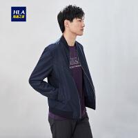 HLA/海澜之家棒球领花纹夹克2019春季新品经典大方夹克外套男