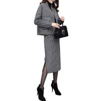 2018新款女装冬季格子两件套裙中长款连衣裙毛呢短外套半身裙套装 图片色