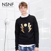 NSNF金色刺绣图形圆领套头男士黑色毛衣 2017秋冬新款