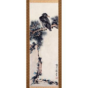 潘天寿款(日本回流)《鹰》纸本立轴