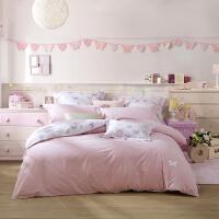 LOVO家纺 水洗棉儿童床品四件套件被套床单 小小花园