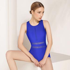 弈姿EZI温泉修身专业运动遮肚显瘦性感露背连体三角女游泳衣1382