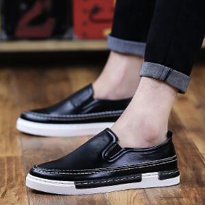 【潮流皮面】休闲鞋男英伦板鞋防滑耐磨