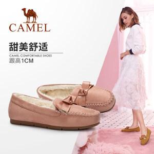 骆驼女鞋2018冬季新款豆豆鞋舒适平跟耐磨防滑保暖学生平底女单鞋