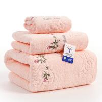 金号正品纯棉三件套浴巾毛巾方巾毛方浴组合柔软吸水毛方浴礼盒装 节日礼物