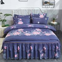 冬季床罩床裙式四件套全棉纯棉床上用品简约双人被套韩版床套款式