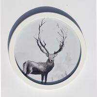 圆形相框 挂墙组合 圆形画框装裱 挂墙 木质照片墙 简约现代Q 白色 不含照片