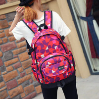 大容量高初中学生书包女日韩版旅行双肩包男时尚潮流帆布电脑背包SN9607 红色 ANKD格子红