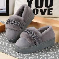 冬季高跟居家居厚底防滑保暖棉拖鞋女可爱室内包跟月子毛毛鞋坡跟 CX 9817荷叶边棉鞋
