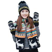 冬季毛线针织保暖围巾手套帽子三件套装女一体围脖生日圣诞