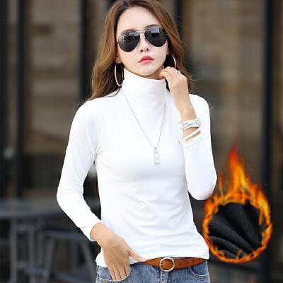 打底衫 女士高领加绒长袖保暖T恤2020年冬季新款韩版时尚潮流女式休闲洋气女装套头衫 女士时尚长袖加绒打底衫