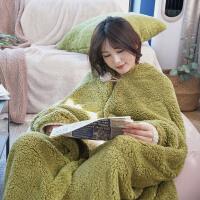 可穿式懒人披肩披风斗篷毛毯冬季加厚保暖单人宿舍学生羊羔绒毯子 115cmx200cm
