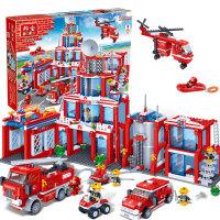 【小颗粒邦宝益智积木儿童玩具生日礼物亲子城市新消防总署8355