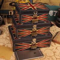 复古马口带锁收纳盒密码铁盒子桌面整理储物盒证件盒半岛收纳铁盒