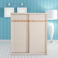 御品工匠 北欧简约实木衣柜 卧室两门滑移 全实木大衣橱 B02推门衣柜